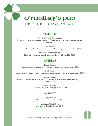 Customize Menu for St Patricks Day