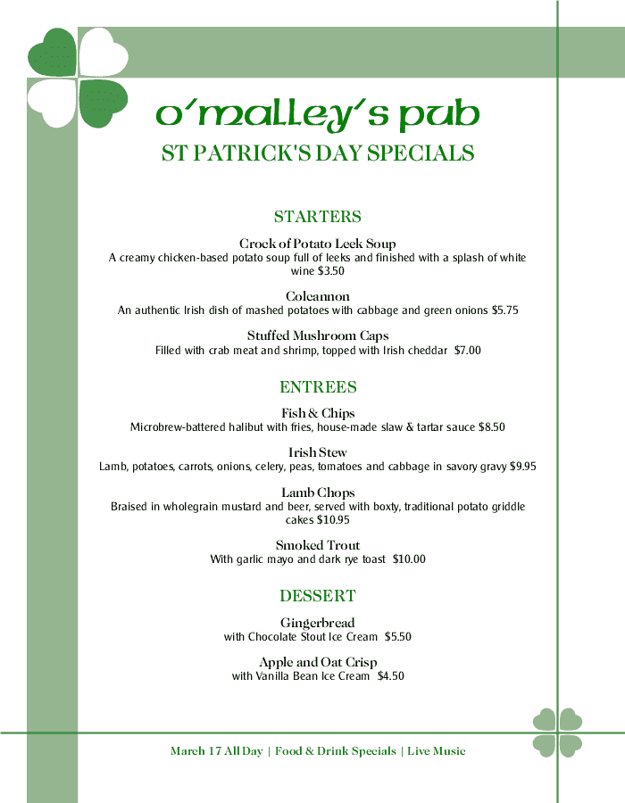 Menu for St Patricks Day