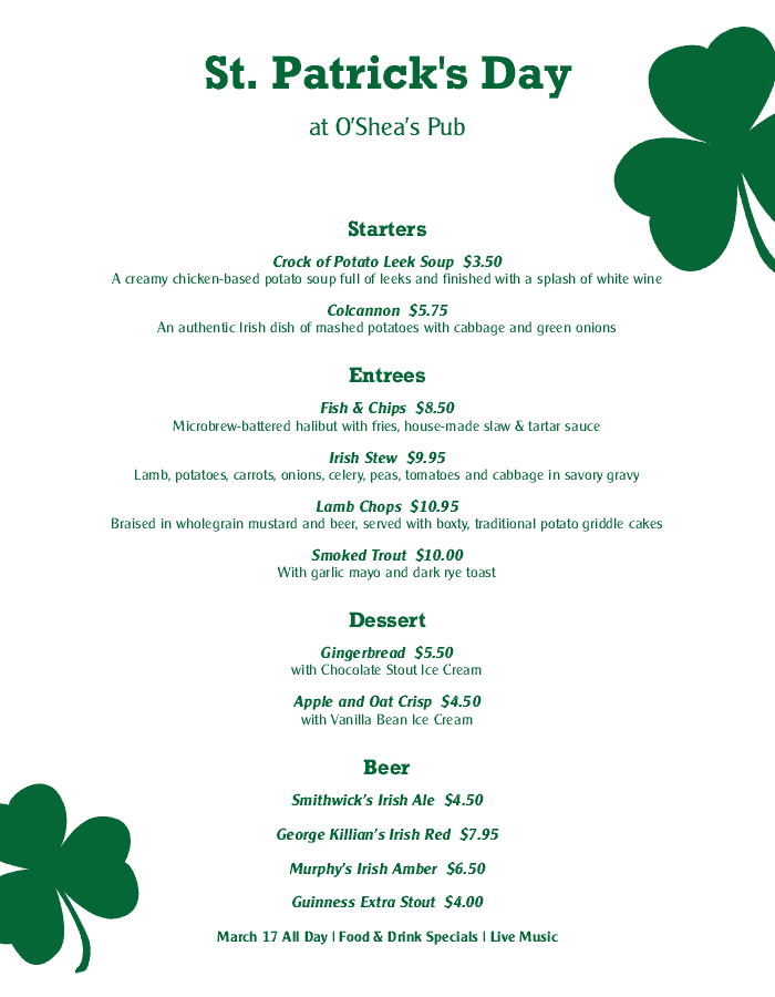 St Patricks Day Party Menu