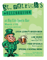 Restaurant St Patricks Flyer