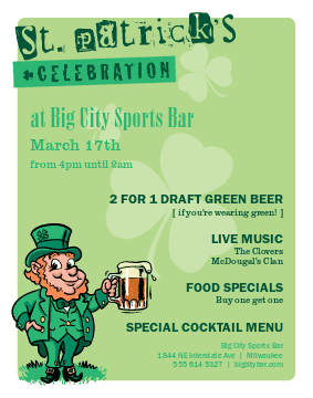 St patrick's day restaurant deals