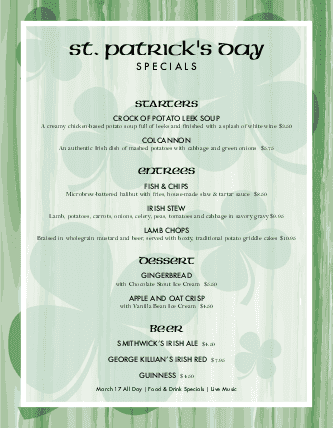 Customize St Paddys Menu Specials