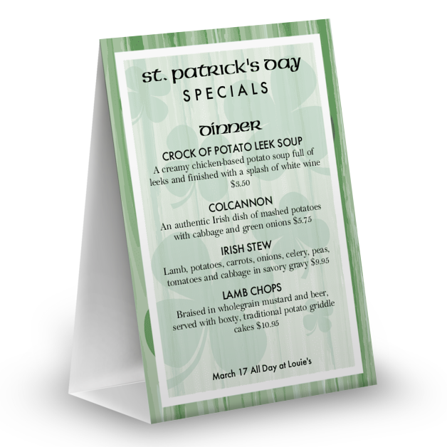 Customize St Pattys Specials Table Tent