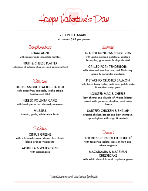 Customize St Valentines Day Menu