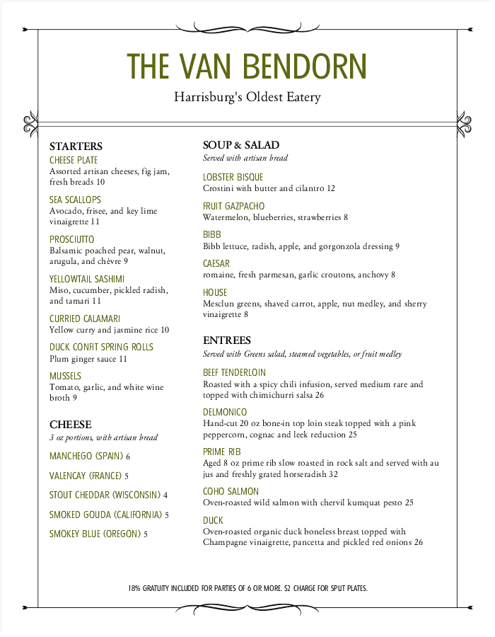 Star Cafe Bar Menu