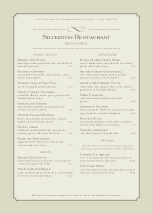 Customize Steakhouse Dinner A4 Menu