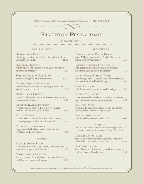 Customize Steakhouse Dinner Menu