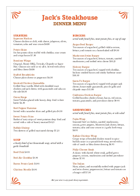 Customize A4 Steak Seafood Menu