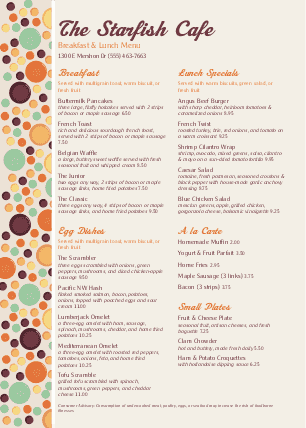 Customize Brunch Menu A4