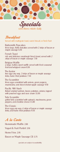 Customize Summer Brunch Specials