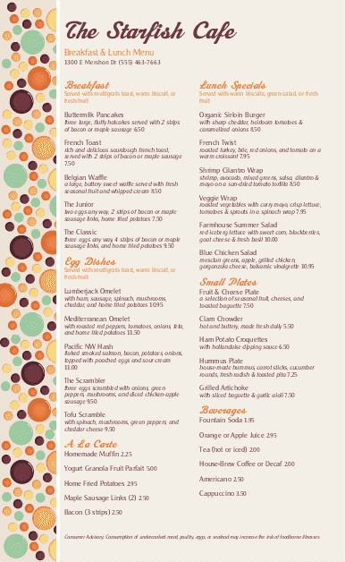 Customize Brunch Menu Long