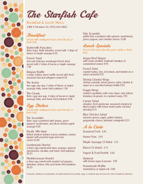 Customize Dinner Specials Menu