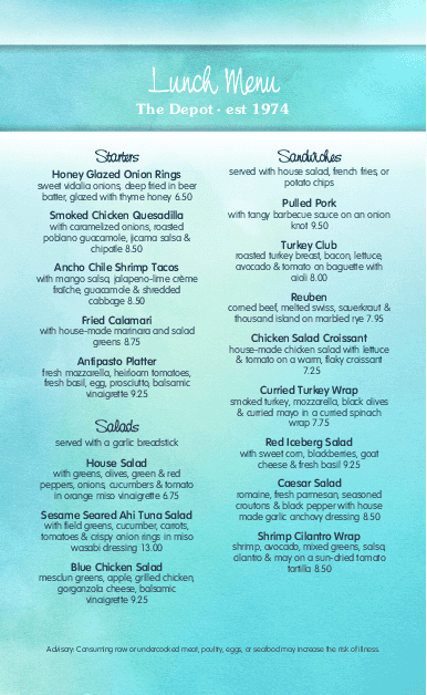 Customize Summer Cafe Menu