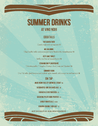Customize Summer Drinks Menu
