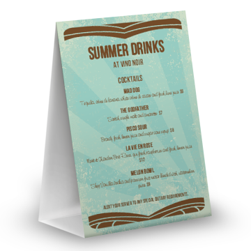 Table tents for restaurants musthavemenus for Table 52 drink menu