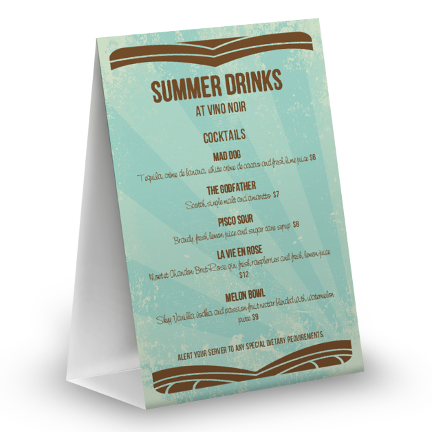 Customize Summer Drinks Table Tent