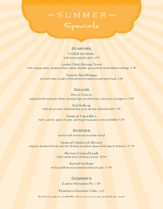 Customize Summer Specialties Menu