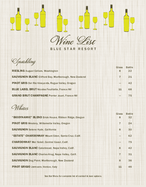 Customize Summer Wine List