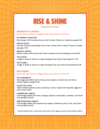 Customize Sunrise Breakfast Menu