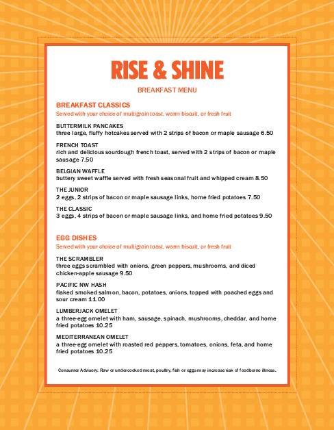 Wonderful Sunrise Breakfast Menu And Breakfast Menu Template
