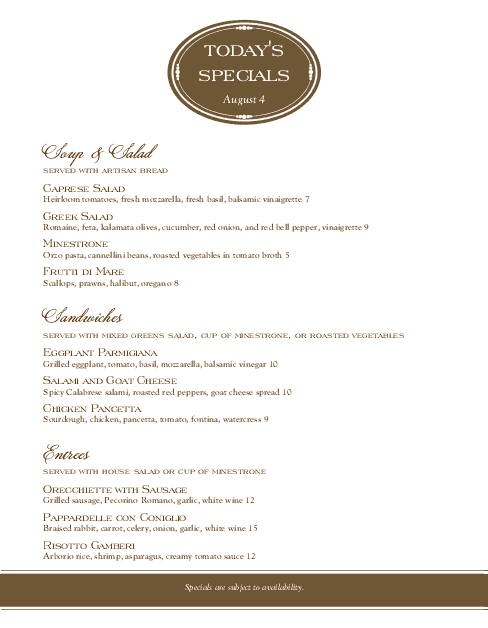 Customize Supper Specials Menu