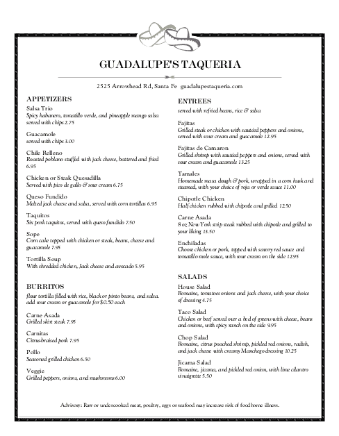 Customize Taqueria Menu