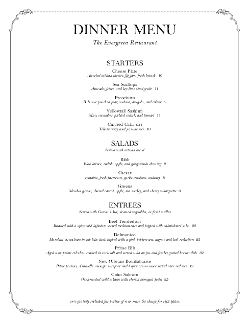 Exceptional Tasting Menu Template In Formal Dinner Menu Template