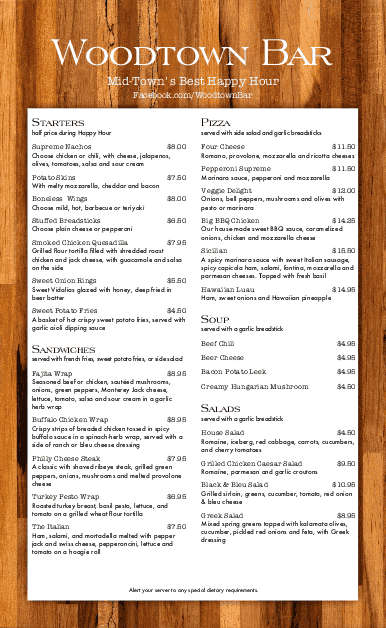 Customize Tequila Bar Long Menu