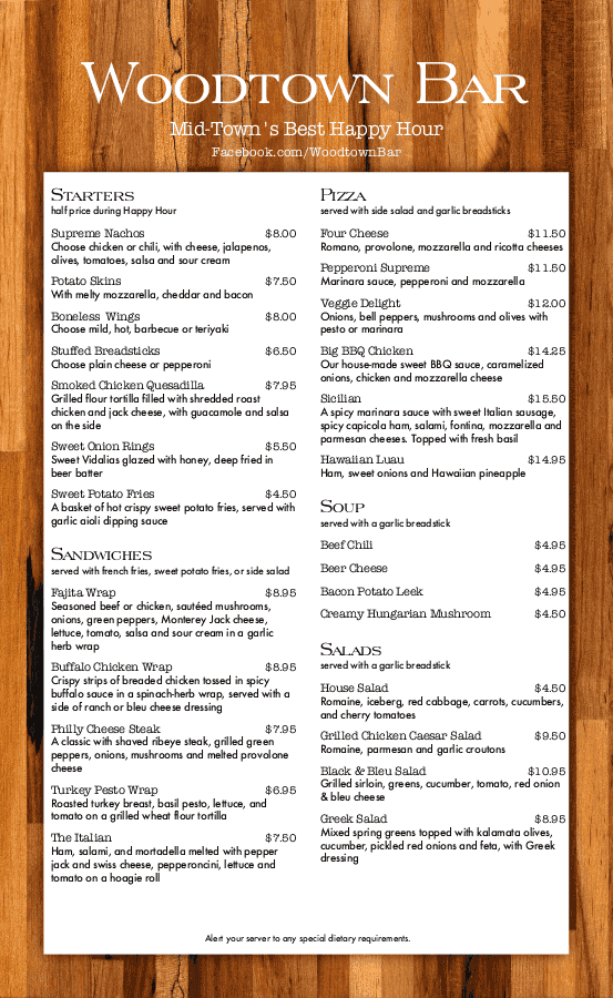 pub food menu templates musthavemenus