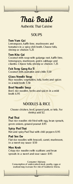 Customize Thai Bamboo Specials Menu
