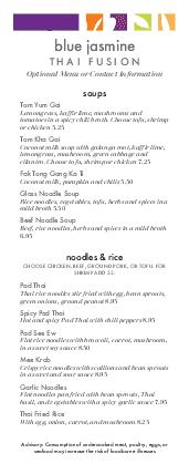 Customize Thai Fusion Specials Menu
