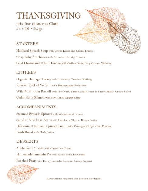 Customize Thanksgiving Buffet Menu