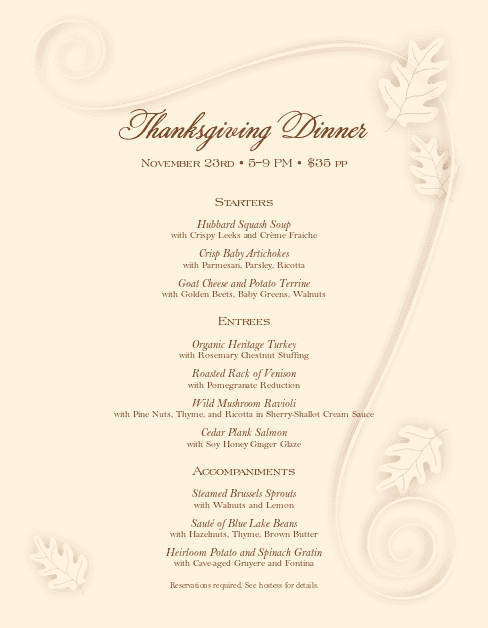 Customize Cafe Thanksgiving Menu