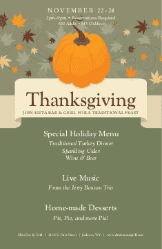 Flyer for Thanksgiving