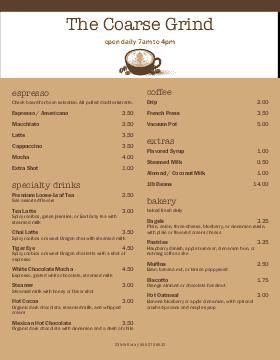 coffee menu template