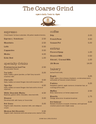 Customize Coffee Specials Menu