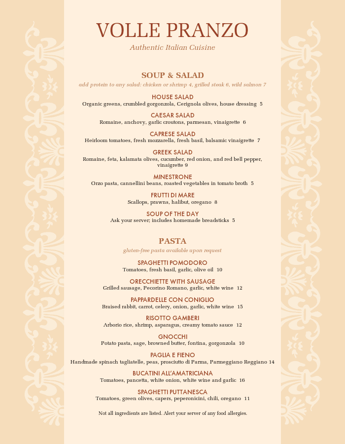 Traditional Italian Menu