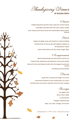 Customize Traditional Thanksgiving Menu
