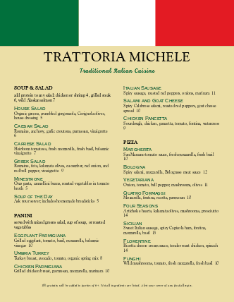 Customize Trattoria Italian Menu