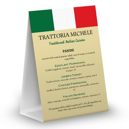 View Italian Table Tent