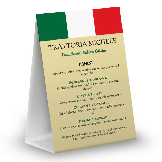 Customize Italian Table Tent