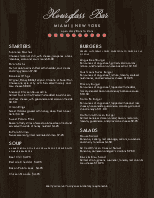 Urban Bar Menu
