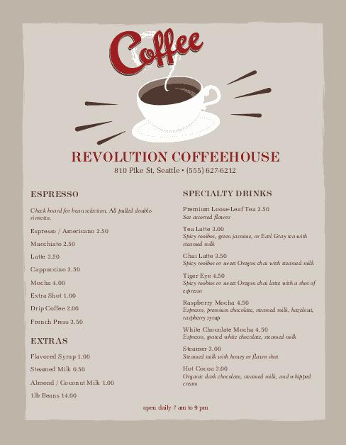 Customize Urban Coffee Menu