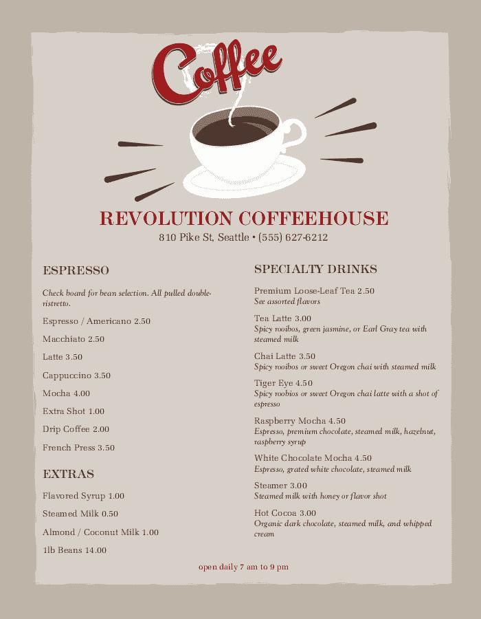 coffee shop menu templates easy to edit musthavemenus