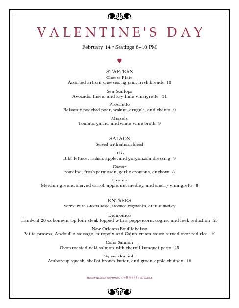 Customize Valentine's Day Dinner Menu