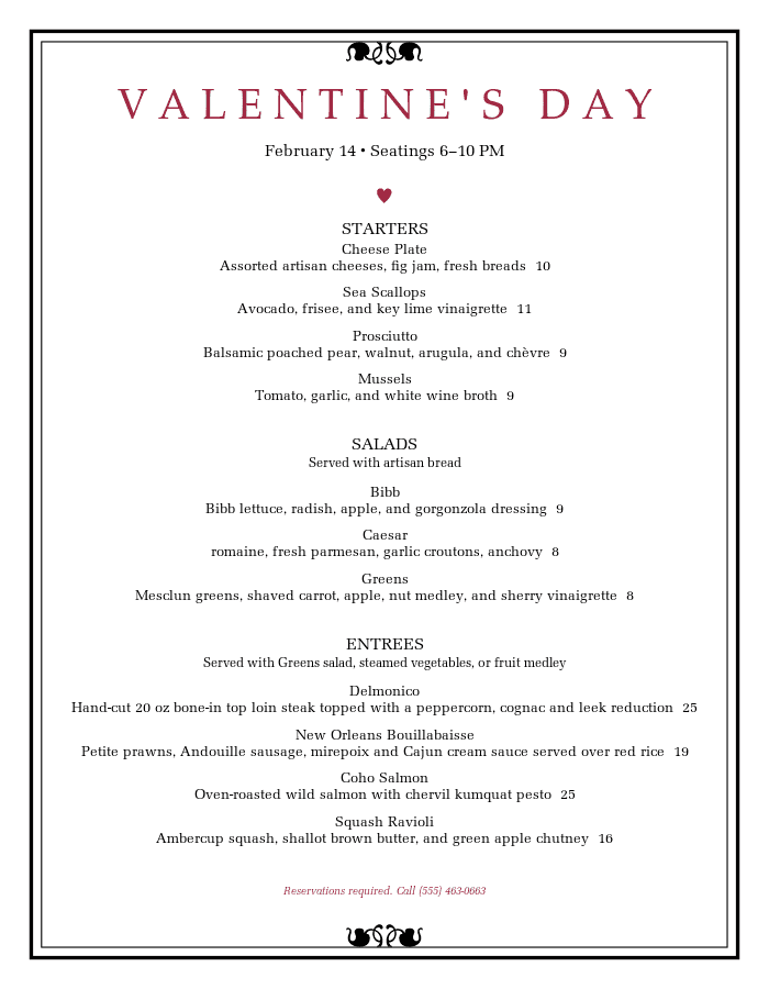 Gorgeous Valentine S Day Menu Templates Musthavemenus