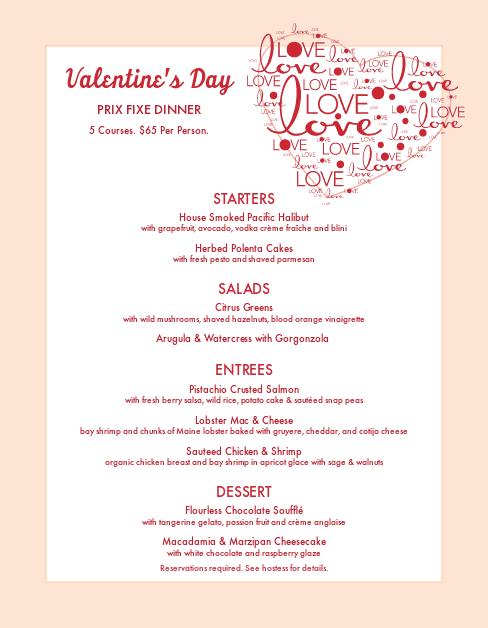 Customize Valentines Day Menu