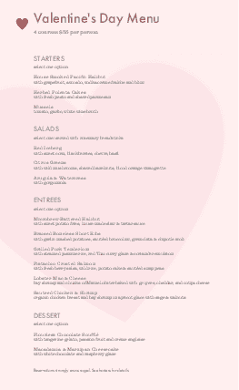 Customize Valentines Dinner Menu