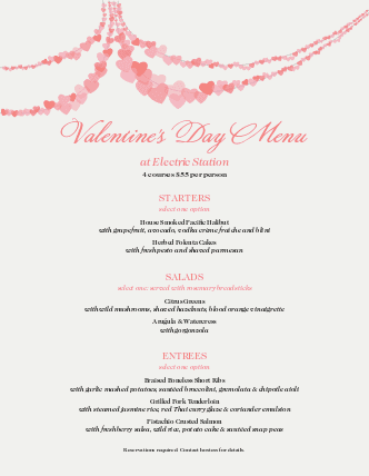 Customize Menu for Valentine's Day