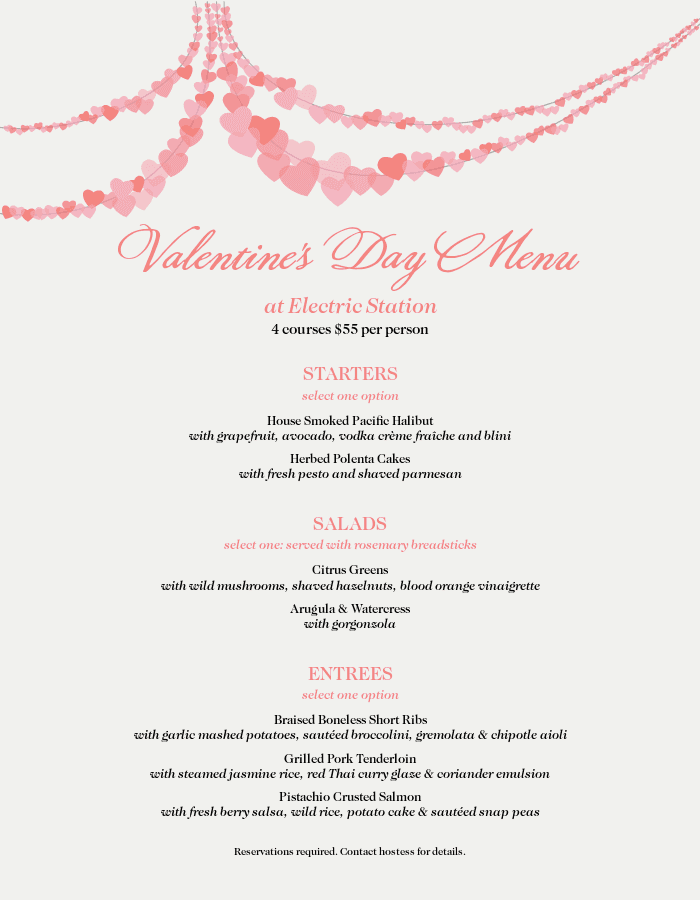 Menu for Valentine's Day